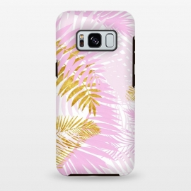 Galaxy S8 plus  Pink and Gold Palm Leaves by