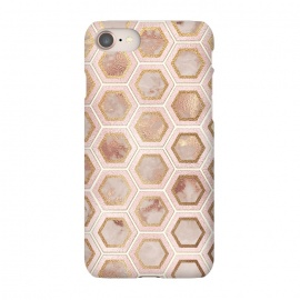 iPhone 8/7  Marble and Rose Gold Honeycomb Pattern by Utart