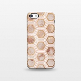 iPhone 5C  Marble and Rose Gold Honeycomb Pattern by Utart