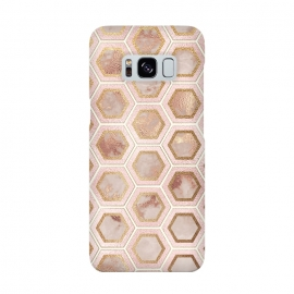 Marble and Rose Gold Honeycomb Pattern by Utart