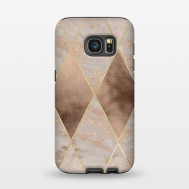 Galaxy S7  Marble Rose Gold Argyle Pattern by Utart