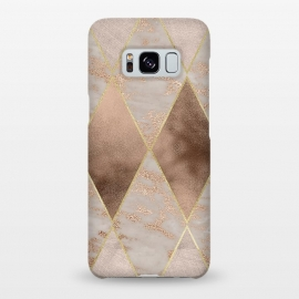 Galaxy S8+  Marble Rose Gold Argyle Pattern by Utart