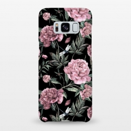 Galaxy S8+  Black and Pink Peony Pattern by Utart