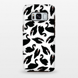 Galaxy S8 plus  Black Swan Pattern on White 031 by