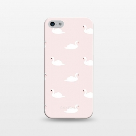iPhone 5/5E/5s  Swan pattern on pink 033 by Jelena Obradovic