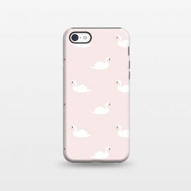 iPhone 5C  Swan pattern on pink 033 by Jelena Obradovic