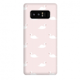 Galaxy Note 8  Swan pattern on pink 033 by Jelena Obradovic