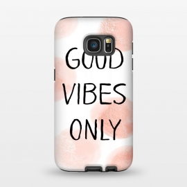 Galaxy S7  Good Vibes Only - Rose Gold Polka Dots by Utart