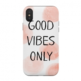 iPhone Xs / X  Good Vibes Only - Rose Gold Polka Dots by Utart ( spring, pink, season, beautiful, illustration, beauty, summer, springtime, romantic,  spring, vintage,  typographic,retro,pattern,girly,trendy,modern,fashion,dots,dot,polka dots,rosegold,rose gold,metal foil,metallic)