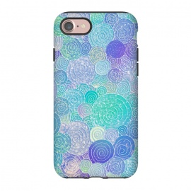 iPhone 8/7  Teal Mint and Purple Circles Pattern by Utart