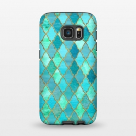 Galaxy S7  Teal Moroccan Shapes Pattern  by Utart