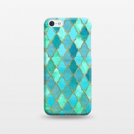 iPhone 5C  Teal Moroccan Shapes Pattern  by Utart