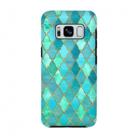 Galaxy S8  Teal Moroccan Shapes Pattern  by Utart