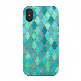 iPhone Xs / X  Teal Moroccan Shapes Pattern  by