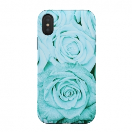 iPhone Xs / X  Teal Roses Pattern by Utart (blossom, spring, flower, nature, season, floral, petal, beautiful, bloom, flora,  blooming, natural, beauty, botany, summer, springtime,  botanical, romantic,  spring, vintage,teal,turquoise,blue,aqua,flowers,retro,pattern,girly,trendy,modern,fashion,rose,roses,Flower,Flowers)