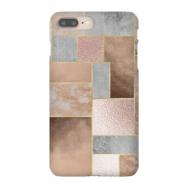 Rose Gold Copper and Concrete Abstract Geometrical Pattern by Utart