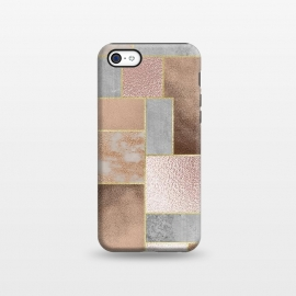 iPhone 5C  Rose Gold Copper and Concrete Abstract Geometrical Pattern by Utart