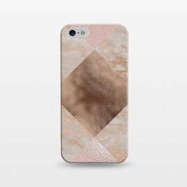 iPhone 5/5E/5s  Rose Gold and Marble Quadrangle Pattern by Utart