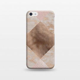 iPhone 5C  Rose Gold and Marble Quadrangle Pattern by Utart