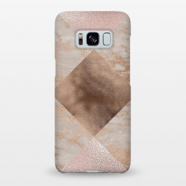Galaxy S8+  Rose Gold and Marble Quadrangle Pattern by Utart
