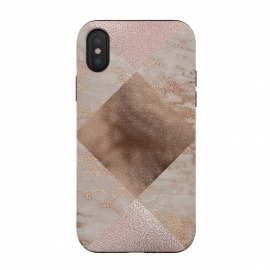iPhone Xs / X  Rose Gold and Marble Quadrangle Pattern by Utart (Glitter, Stylish, Ombre, Girly, Marble, Marbled, Nature, Texture,  Geode ,Terrazzo,  Metallic, Scandi, Bohemian, Boho, Scandinavian, stone, crystal, quartz, gemstone, gem, granite,  shimmer, shimmery, shiny ,metallic,  trendy, girly, simply, simple, glitter, chrystal ,ink, malachite, agate,quadrangl)