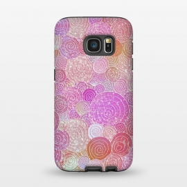 Galaxy S7  Pink and rose gold circles and dots pattern by Utart