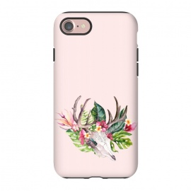 iPhone 8/7  BOHO  Skull with tropical flowers and foliage by Utart
