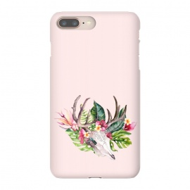 iPhone 8/7 plus  BOHO  Skull with tropical flowers and foliage by Utart