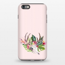 iPhone 6/6s plus  BOHO  Skull with tropical flowers and foliage by Utart