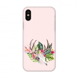 iPhone X  BOHO  Skull with tropical flowers and foliage by Utart