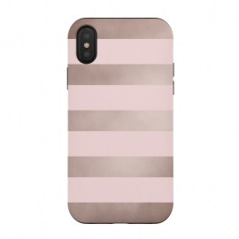 iPhone Xs / X  Rose Gold Copper Stripes Pattern by Utart