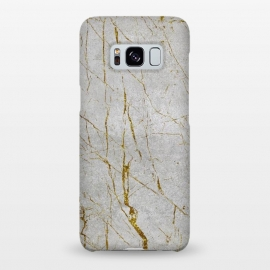 Galaxy S8+  Golden Marble Veins On Concrete by Andrea Haase