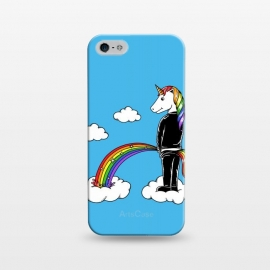 iPhone 5/5E/5s  Unicorn Rainbow Blue by Coffee Man (unicorn, unicorns,magic,rainbow,colorful,cloud,fun,funny,humor,fary tale,punk,kid,kids,children,sky,horse, animal, animals,pet,pets)