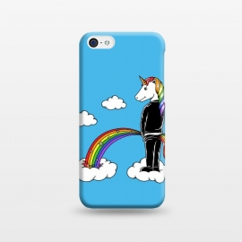 iPhone 5C  Unicorn Rainbow Blue by Coffee Man (unicorn, unicorns,magic,rainbow,colorful,cloud,fun,funny,humor,fary tale,punk,kid,kids,children,sky,horse, animal, animals,pet,pets)