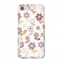 iPhone 8/7  60s Flowers in Purple and Mustard by Paula Ohreen