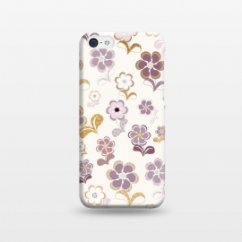 iPhone 5C  60s Flowers in Purple and Mustard by Paula Ohreen