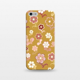 iPhone 5/5E/5s  60s Flowers in Mustard and Pink by Paula Ohreen
