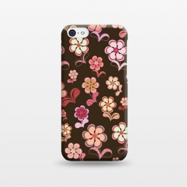 iPhone 5C  60s Flowers on Chocolate Brown by Paula Ohreen