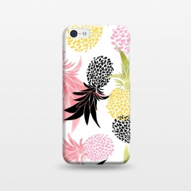 iPhone 5C  Pineapples by Uma Prabhakar Gokhale (watercolor, food, fruit, tropical, delicious, pink, black, yellow, minimal, nature, quirky,pineapple)