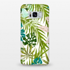 Galaxy S8+  Veronica v2 by Uma Prabhakar Gokhale (watercolor, pattern, tropical, palm, banana leaves, banana leaf, pastel, minimal, blue, green, blush, pink, baby pink, white, leaves, nature, botanical, monstera)