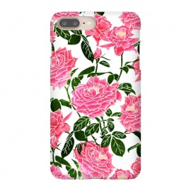 iPhone 8/7 plus  Rose V2 by  (watercolor, pattern, rose, roses, pink, floral, nature, botanical, blossom, bloom, garden, rose garden, white, green, flourish, leaves, flowers)