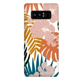 Galaxy Note 8  Palms and Bloom by  (graphic design, pattern, nature, tropical, retro, floral, flowers, botanical, bloom, blossom, orange, black, white, pink, blue, teal, yellow, mango, monstera, palms)