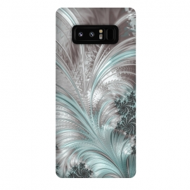 Galaxy Note 8  Floral Fractal Teal Silver by Andrea Haase
