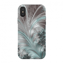 iPhone X  Floral Fractal Teal Silver by Andrea Haase