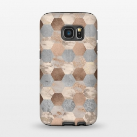 Galaxy S7  Marble Rose Gold Honeycomb Pattern by Utart