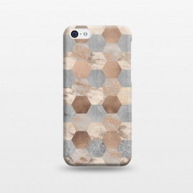 iPhone 5C  Marble Rose Gold Honeycomb Pattern by Utart