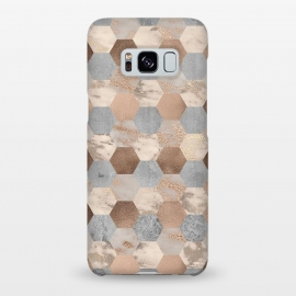 Galaxy S8+  Marble Rose Gold Honeycomb Pattern by Utart