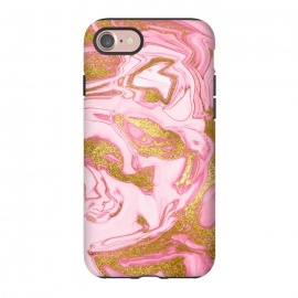 iPhone 8/7  Pink and Gold Marble by Utart (Glitter, Stylish, Ombre, Girly, Marble, Marbled, Nature, Texture,  Geode ,Terrazzo,  Metallic, Scandi, Bohemian, Boho, Scandinavian, stone, crystal, quartz, gemstone, gem, granite,  shimmer, shimmery, shiny ,metallic,  trendy, girly, simply, simple, glitter, chrystal ,ink,gold,golden,glitter,metal,p)