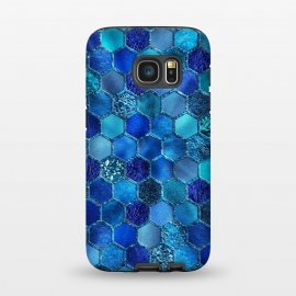 Galaxy S7  Blue HOneycomb Glitter Pattern by Utart
