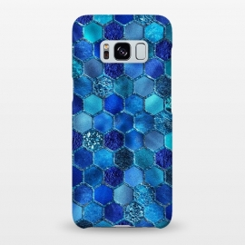 Galaxy S8+  Blue HOneycomb Glitter Pattern by Utart